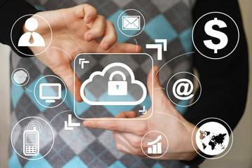 Businessman pushing web button cloud lock sign virtual