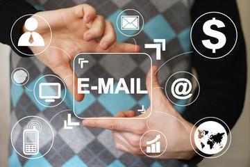 Businessman pressing messaging mail icon sending virtual