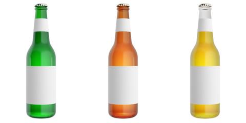 Set of glass beer bottles with blank label. 3d illustration