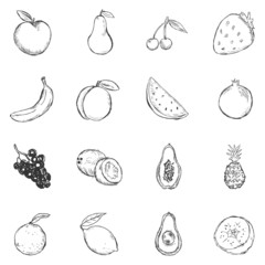 Vector Set of Sketch Fruits Icons.
