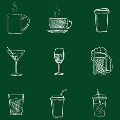 Vector Set of Chalk Drinks Icons.