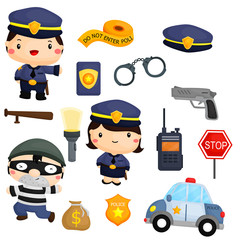 Police and robber vector set