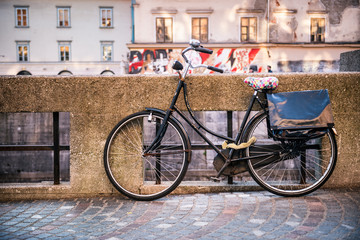 Traditional classic bicycle near water canal