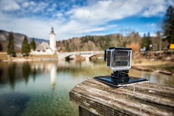 small action camera filming nice landscape slow motion outdoors