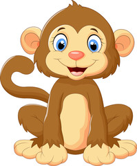 Cartoon cute monkey sitting