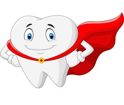 Happy superhero healthy tooth