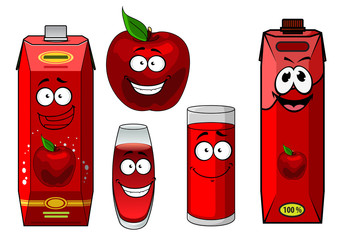 Natural red apple fruit and juice cartoon characters