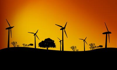 Windfarm, sunset