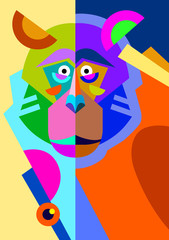 abstract original monkey drawing in flat style and pop art