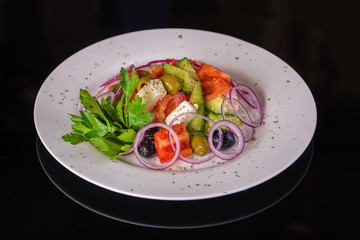 Greek salad with vegetables and feta