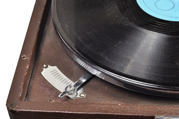 Vinyl record and old gramophone