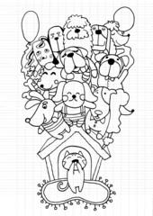 Hand drawn doodle Puppy Dog background
