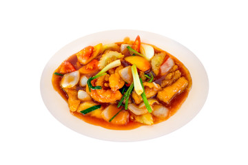 fried grouper fish spicy sweet and sour sauce on isolated backgr