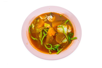 Spicy and Soup Curry with Shrimp and Vegetable / Delicious thai