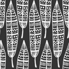 Hand Drawn Feathers Seamless Pattern