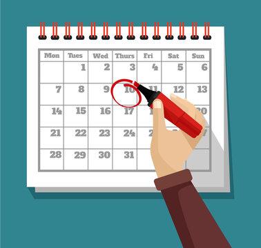 Vector flat calendar illustration