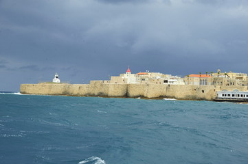 The walls of the old Acre port fortress and St. John Church
