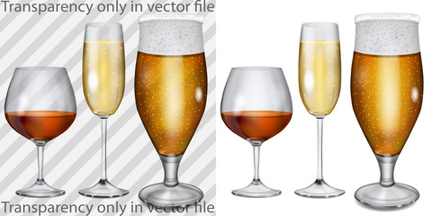 Transparent, opaque glass goblets with cognac, champagne, beer