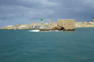 Part of fortress walls in the old city port of Acre