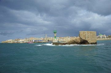 View from the sea side on the walls of the old Acre port fortress