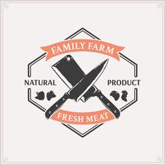Vector Butcher Shop Logo, Meat Label Template