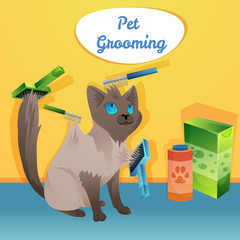 Cat character in groom salon