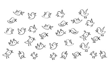 set of birds tweet on a white background