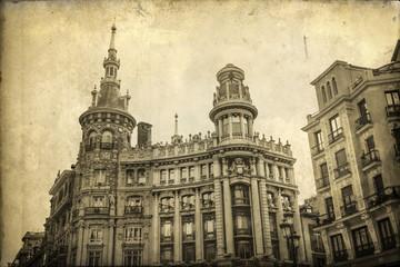 antik texturiertes Bild von historischen Gebäuden in Madrid