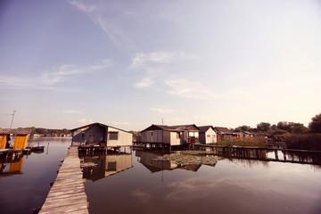 Beautiful houses on lake