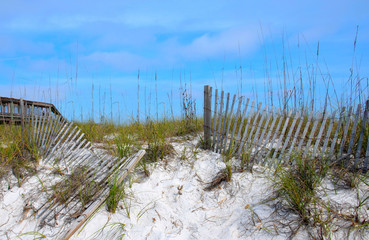 Weathered and worn fence on Florida beach sand dunes