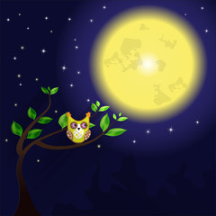 Huge moon and owl on the tree