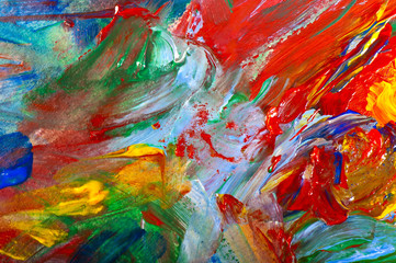 brushstrokes with acrylic paints on canvas closeup