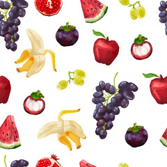 Seamless pattern with tropical fruits and grapes. Watercolor