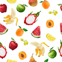 Seamless pattern of different fruits in a watercolor style light