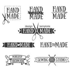 Set of vintage retro handmade badges, labels and logo elements