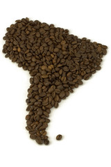 map of North America from coffee beans