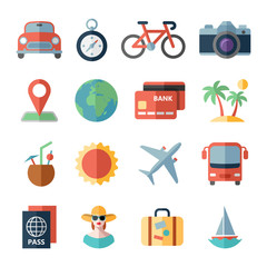 Traveling and transport icons for Web Mobile App.
