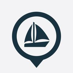 sail boat icon map pin