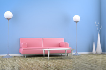 blue room with a sofa