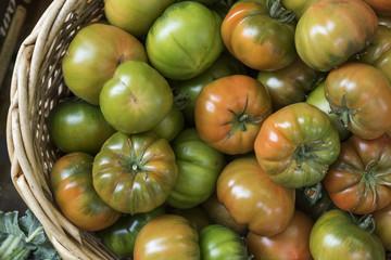 Pomodori verdi e rossi in una cesta