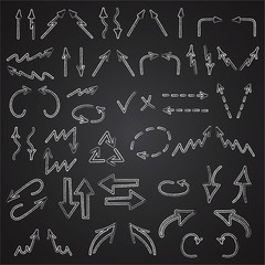 Hand drawn arrows icons set isolated on blackboard background