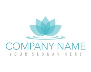 flower lotus blue ornament logo image vector