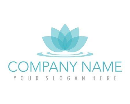 flower lotus blue ornament logo image vector
