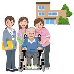 車いす シニア 看護士 Smiling senior man with caregivers