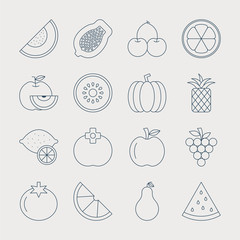 fruit line icon set