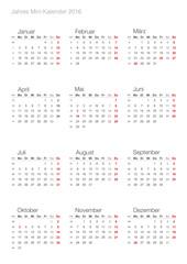 Deutscher Jahreskalender Mini 2016