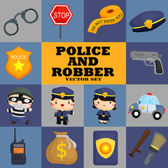Square police and robber vector set