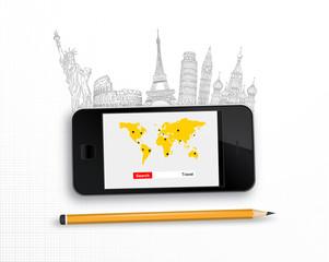 smartphone travel concept vector