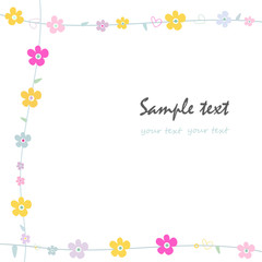 Simple flowers decorative frame greeting card vector
