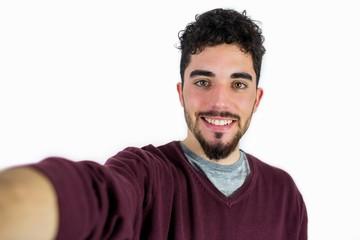 Casual man taking a selfie